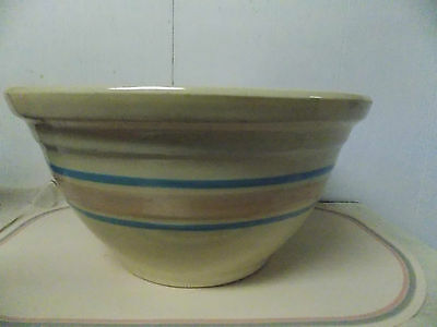 Watt  Ware Large Mixing Bowl # 12 Made in USA Pink & Blue Bands