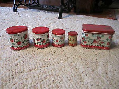 Set Of Nice Older Tin Wolverine Strawberry Design Child's Toy Canisters!!!