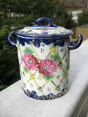 Vintage Japan Nippon unmarked Asters Small Casserole With Lid.Round opening bott