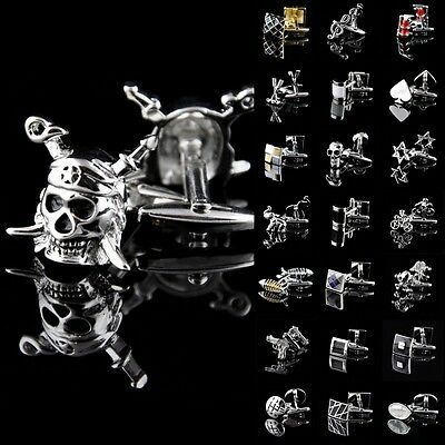 Lot Novelty Stainless Steel Golden Silver Wedding Gift Vintage Mens Cufflinks