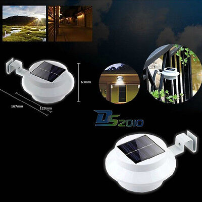 Outdoor Solar Powered Led Light Garden Fence Yard Wall Gutter Path Lamp White