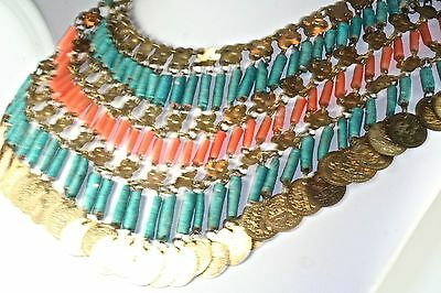 1920'S Egyptian Revival Middle Eastern Faience Faux Coral Drippy Bib Necklace