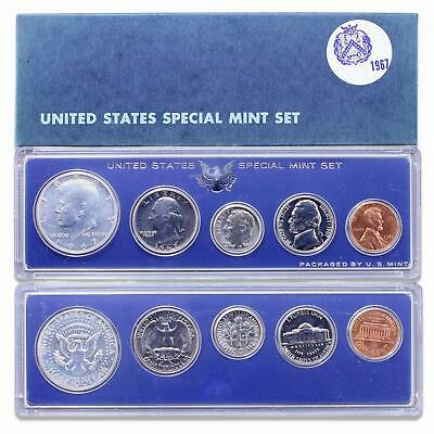 1967 SMS Set Original Box 40% Silver Kennedy US Special Mint Set 5 Coins