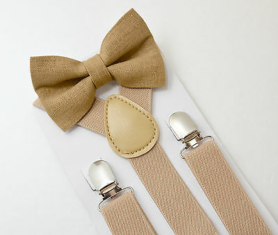 Kids Mens Boys Baby SET Tan Suspenders & Linen clip on bow tie 6months - 5Y