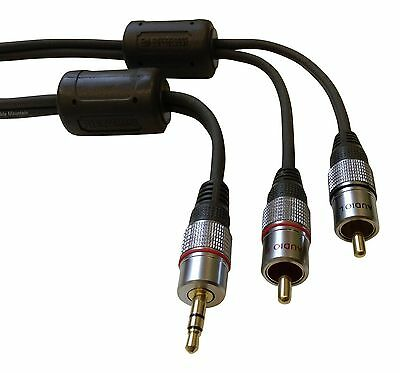 Ultimate 24k Gold 3.5mm Earphone Jack to 2 x RCA Male Phono Plugs Cable - 3m