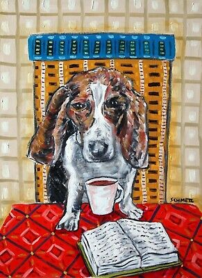 BASSET HOUND dog  11x14 signed art reproduction impressionism cafe new wall pet