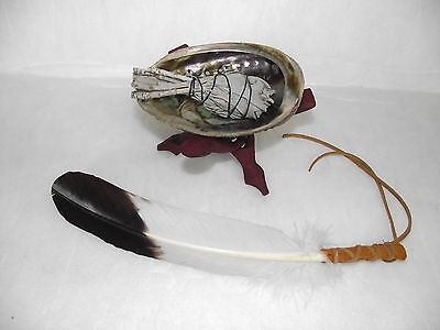 Sage Smudge Kit Shaman Smudging Remove Spirits Abalone Shell Stand Feather Fan