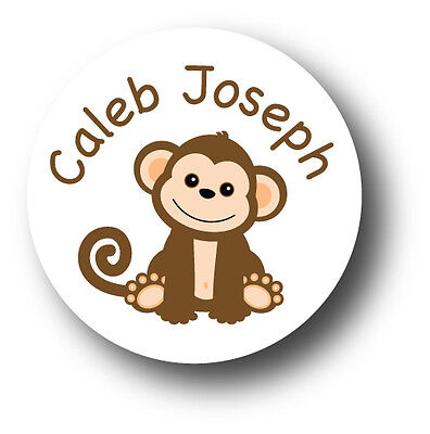 30 Monkey With Name Personalized Baby Shower Invitation Favor White Stickers