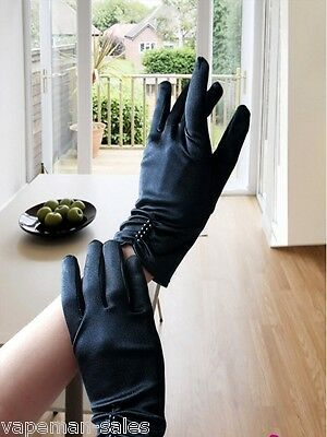 Soft Satin Gloves With Pearl Detail One Size Wrist Length 21cm evening Wear 1920