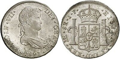 1821 Spanish Silver Coin Fernando VII Monarchi 8 Reales JP SS 322-1112
