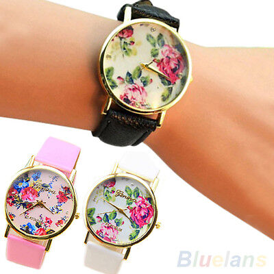 High Quality Women Girl Geneva Faux Leather Rose Flower Quartz Watches B5BU