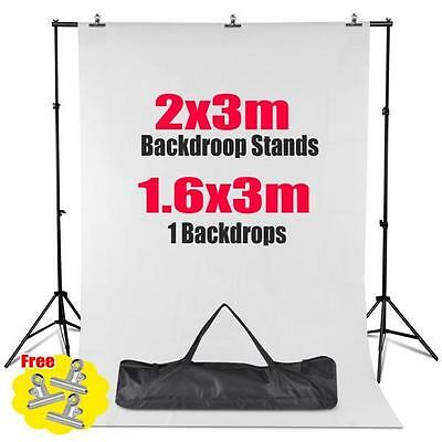 2x3M Background Stand Kit Pro Photography Set + Photo Studio White Backdrop