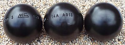 Set of New MS Petanque MS Acier (Steel) Boules Diameter 74 Weight 690