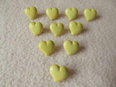 10 x YELLOW HEART SHAPED BUTTONS ~ approx 13mm ~ FASHION//CRAFT
