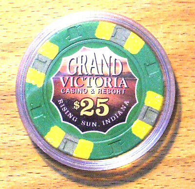 Paulson $25. GRAND VICTORIA CASINO CHIP - Primary - RISING SUN, INDIANA