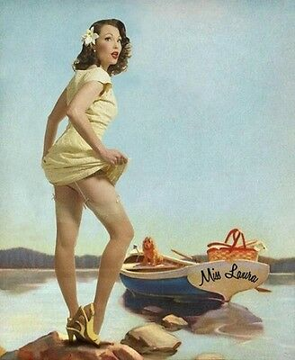 "Laura Shaffer- May Pin-up 24""x 33"" 1940s 1950s classic vintage tribute poster"
