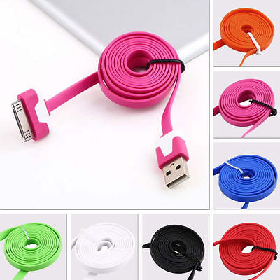 9 Colors 1M FLAT USB 2.0 Sync/DatA CHARGING CABLE CORD for iPHONE 4S 4 iPAD2 3