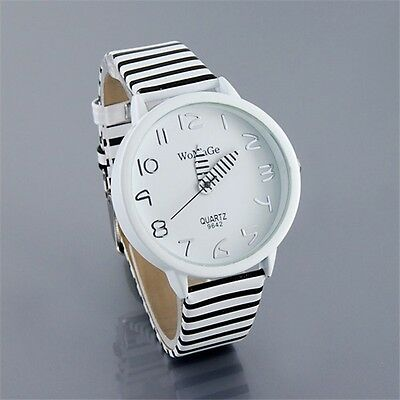 New Charming Lady Girls Black White Band Quartz Battery Wrist Watch Watches