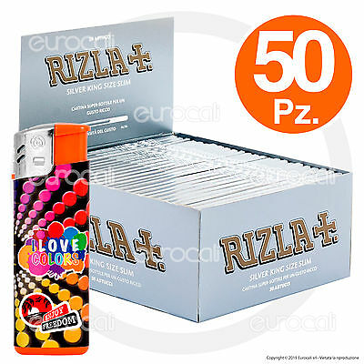 1600 Cartine RIZLA SILVER Lunghe Argento SLIM 50 pz King Size KingSize