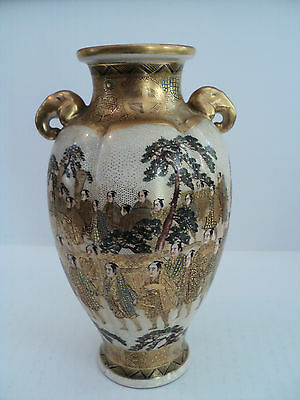 "19th C. ANTIQUE JAPANESE SATSUMA HAND GILDED & ENAMELED 7"" VASE"