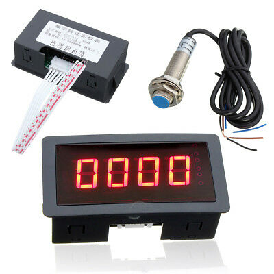 Red LED 4 Digital Tachometer RPM Speed Meter + NPN Hall Proximity Switch Sensor