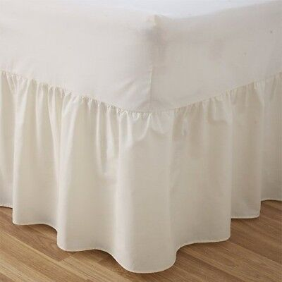 "24"" Deep Luxury Plain Dyed Non-Iron Percale Cotton King Bed Valance Sheet Cream"