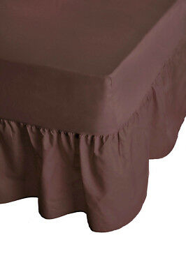 "24"" Luxury Plain Dyed Non-Iron Percale Cotton Single Bed Valance Sheet Chocolate"