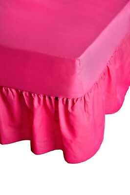 "24"" Deep Plain Dyed Non-Iron Percale Cotton Single Bed Valance Sheet Fuchsia New"