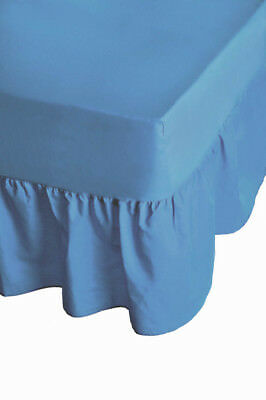 "24"" Deep Luxury Plain Dyed Non-Iron Percale Cotton Single Bed Valance Sheet Blue"