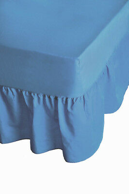 "24"" Deep Luxury Plain Dyed Non-Iron Percale Cotton Double Bed Valance Sheet Blue"