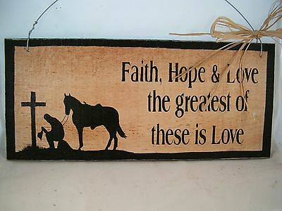 Hand Painted Horse Inspirational Wood Barn Sign with Cowboy Faith Hope Love