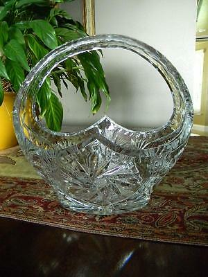 Stunning Vintage Crystal Brides Basket~Wheel Cut Pinwheels & Pineapples