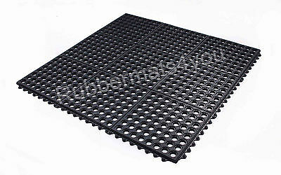 PACK of 4 INTERLOCKING Rubber Safety Mat Holes Restaurant Bar Room Garage Shed