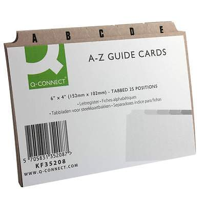 "Index Box Guide Cards 6 x 4"" A-Z Tabbed Iindex Buff Manilla KF35208"