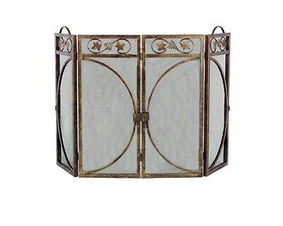 Grapes and Leaves Antique Gold Fireplace Screen 3 Fold
