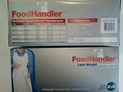 """New FoodHandler Light Weight Poly Aprons w/ Long Ties 28""""x46"""" White 2 Boxes"""