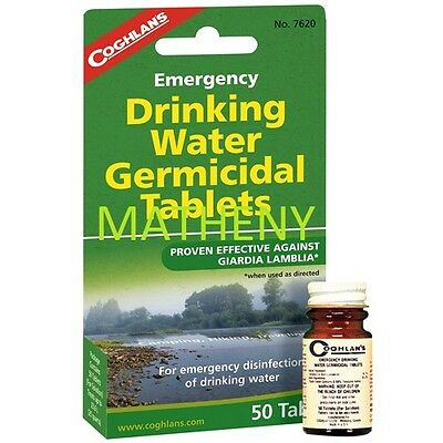 Coghlans 50ct Emergency Drinking Water Germicidal Tablets~Purification Treatment