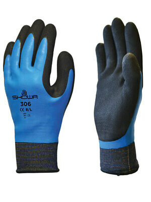 1 x Pair Of Showa 306 Fully Coated Waterproof Latex Grip Breathable Work Gloves