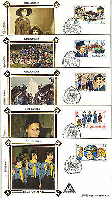ISLE of MAN 1985 GIRL GUIDES on 5 BENHAM Silk FIRST DAY COVERs REF:CW499