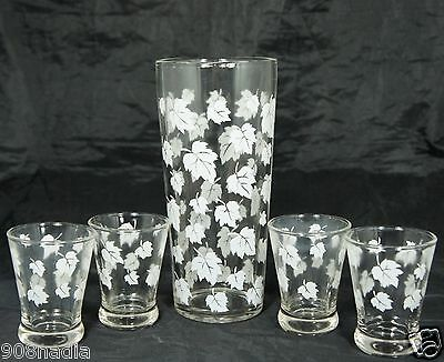VINTAGE WINE OR WATER CARAFE/ MIXER & 4 GLASSES SET CLEAR W/ WHITE MAPLE LEAVES
