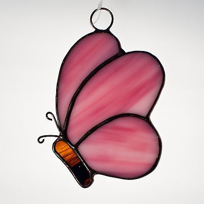 Handmade Stained Glass Suncatcher - Butterfly - Cute!! (Pink and Brown)