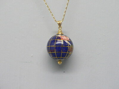 Large Size 14K Gold Globe Pendant w Inlaid Lapis Mother of Pearl MOP
