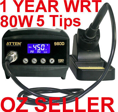 ATTEN SOLDERING IRON STATION LED AT980D 80W LEAD FREE 5 Tips OZ 1 Year WRT