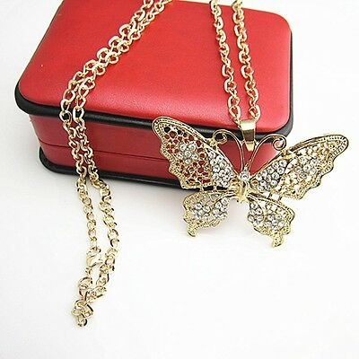Vintage Antique Metal Full Crystal Gold Butterfly Pendant Long Chain Necklace