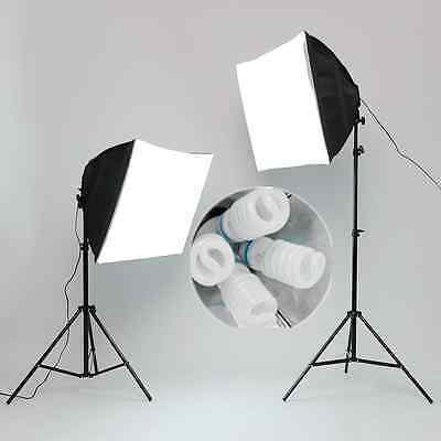 8x135W Blubs Daylight Softbox Continuous Lighting Stand Soft Box Kit Four Head