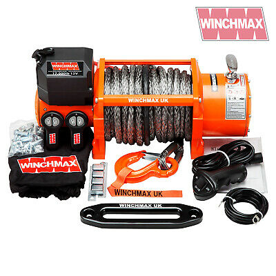 ELECTRIC WINCH 12V RECOVERY 4x4 17000 lb WINCHMAX BRAND NEW SYNTHETIC ROPE MODEL