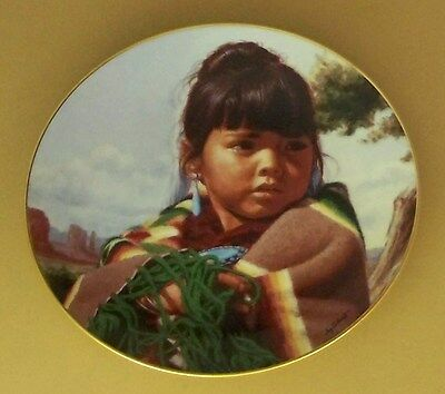 Proud Innocence MORNING CHILD Plate Native American Indian Child Hamilton Coll