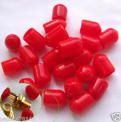 100PCS Diameter 6mm Plastic covers Dust cap Red for RF SMA female connector