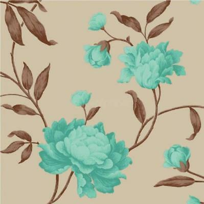 New Luxury Georgina Floral Trail Leaf Rose Feature Wall 10M Wallpaper Roll 14855