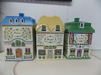 Lenox Canterbury Crossing Canisters S/3 Coffee , Flour, Sugar Fine Porcelain